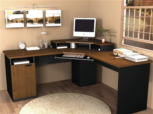Hampton Collection Corner Workstation in Tuscany Brown & Black