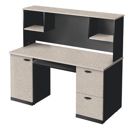 Sand Granite & Charcoal Desk with Included Hutch