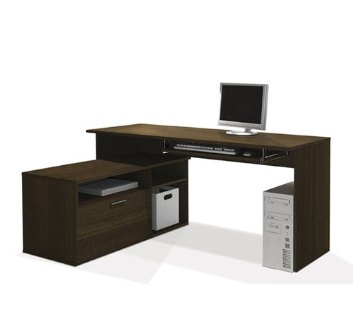 L Shaped Compact Sustainable Computer Desk In Tuxedo