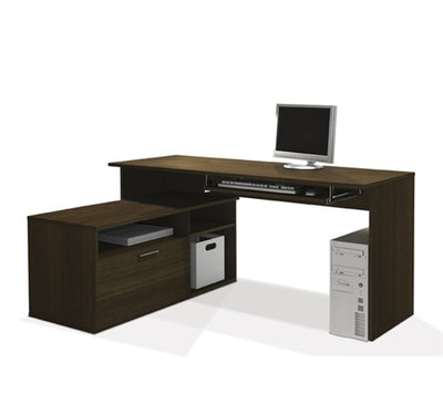 "59"" x 46"" L-shaped Sustainable Computer Desk in Tuxedo Finish"