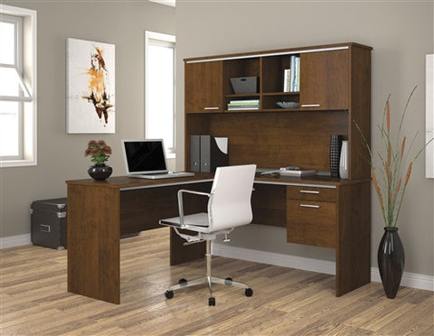 Flare L-shaped Office Desk with Hutch in Tuscany Brown