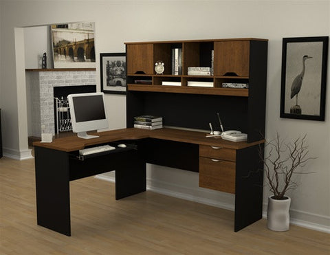 Contemporary Black and Brown L-shaped Workstation and Bonus Hutch