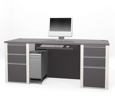 "71"" Double Pedestal Executive Desk in Slate & Sandstone"