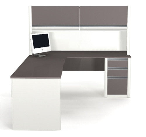 Connexion Two Tone L Shaped Desk With Included Hutch