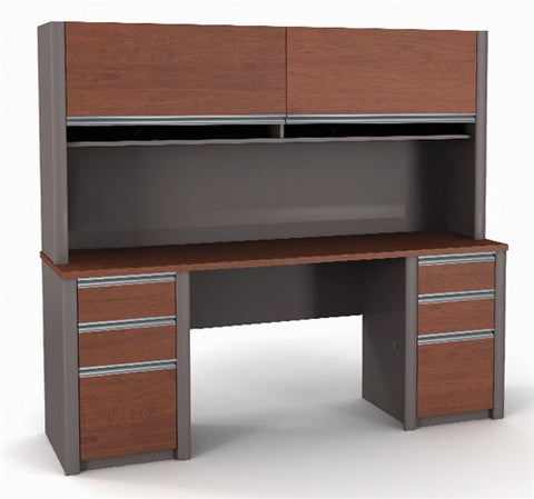 Connexion Series Credenza & Hutch in Bordeaux & Slate