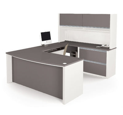 U-shaped Desk with Hutch in Slate & Sandstone