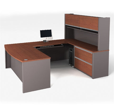 Two Tone U-shaped Workstation with Hutch Included
