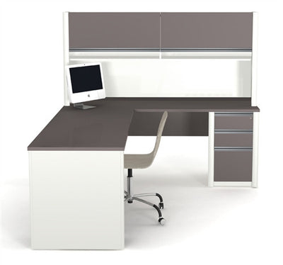 "71"" x 83"" L-shaped Desk with Hutch & Pre-Assembled Pedestal"