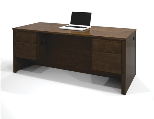 Chocolate Modern Executive Desk with Dual Half Pedestals