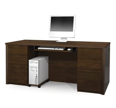 "71"" Chocolate Modern Double-Pedestal Executive Desk"