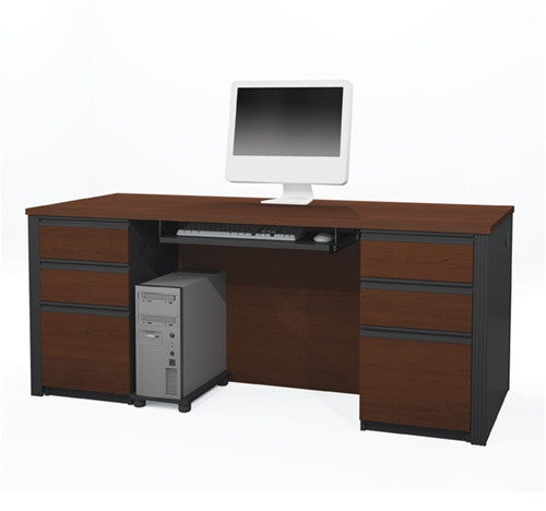 Prestige Executive Desk in Bordeaux/Slate with 6 Drawers
