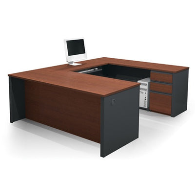 Prestige U-shaped Workstation in Bordeaux & Graphite
