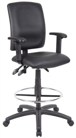 Boss Black & Chrome Leather Drafting / Medical Chair