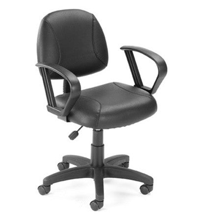 Black LeatherPlus Task Computer Chair with Loop Arms
