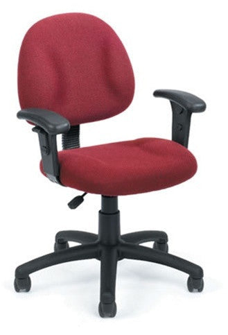 Mid Back Task Chair with Armrests & Waterfall Seat in Burgundy, Gray, Black or Blue
