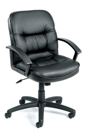 Executive Mid Back Leather Chair w Lumbar Support