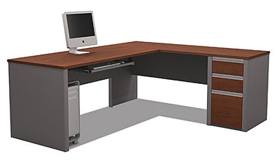 "71"" x 83"" L-Shaped Desk with Drawers in Bordeaux & Slate"