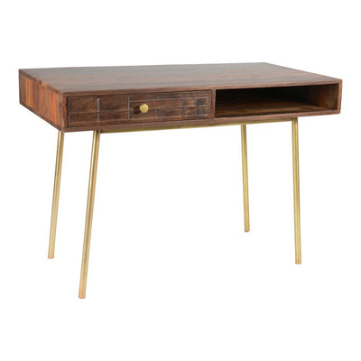 "45"" Mid-Century Modern Office Desk with Solid Sheesham Top"