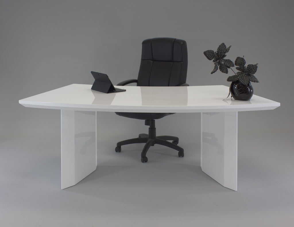 Modern Office Desk: Modern White Lacquer Curved Executive Desk With Mobile