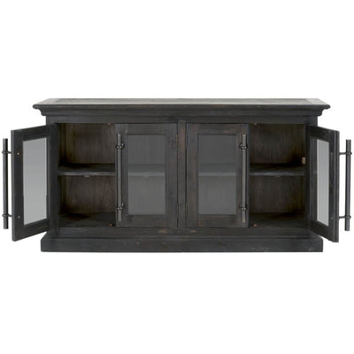 Classic Black Washed Pine Storage Credenza