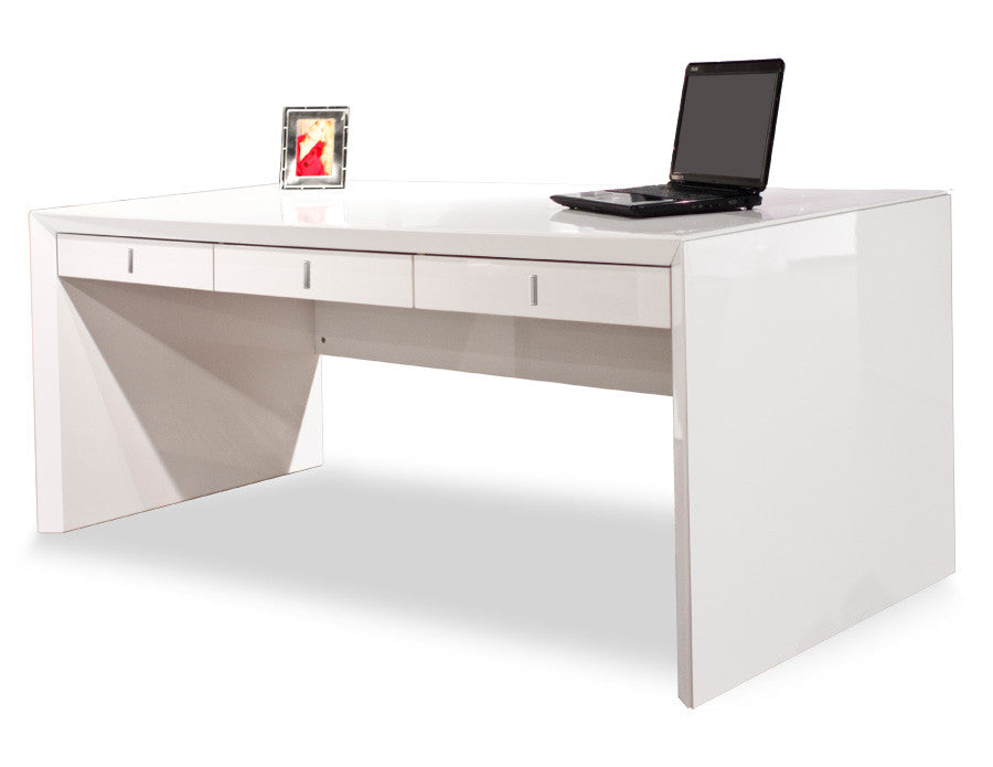 Modern office desk white Small Ultra Modern White Lacquer Executive Desk With Three Drawers Officedeskcom Buy Modern Desks For Your Home Office Computer At Officedeskcom