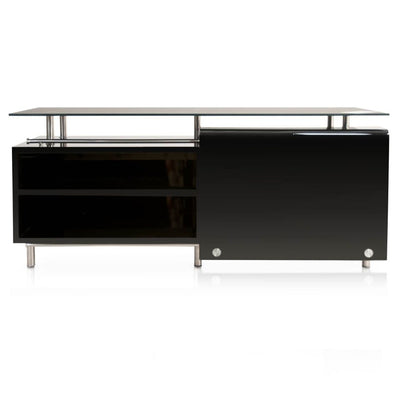 "71"" Contemporary Black Glass-Top Storage Credenza"