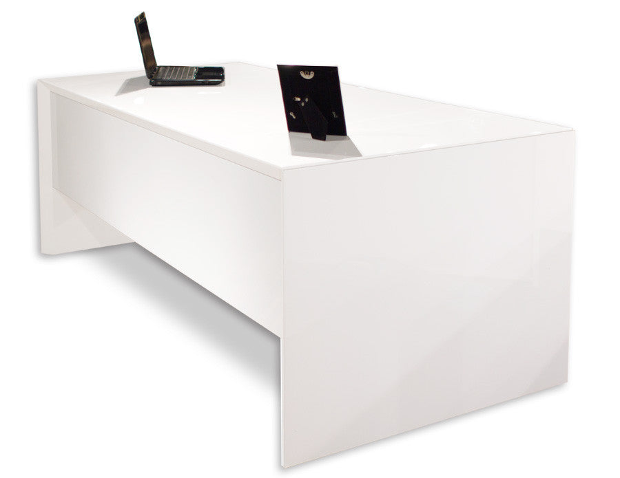 Lovely Modern White Desk With Drawers