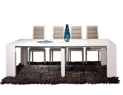 "95"" Modern White Lacquer Extending Conference Table or Desk (16"" - 95"" W)"