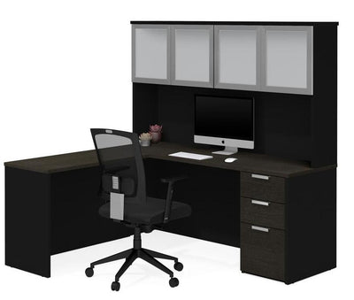 Modern L-Shaped Desk & Hutch with Frosted Glass Doors in Deep Gray and Black
