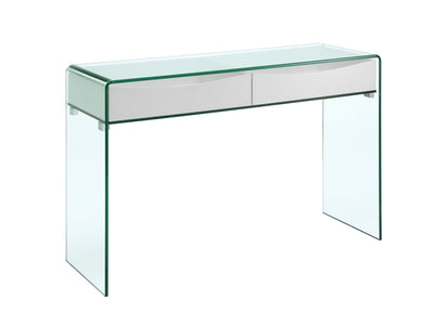 "47"" Glass Console Desk w/ 2 White Drawers"