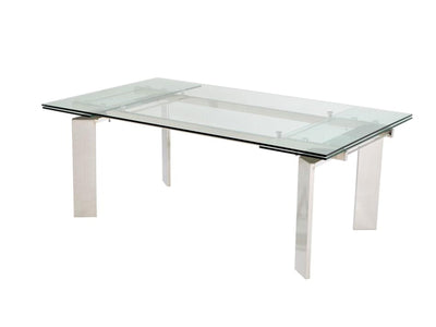 "78"" - 106"" Modern Glass Conference Table with Angled Chrome Legs"
