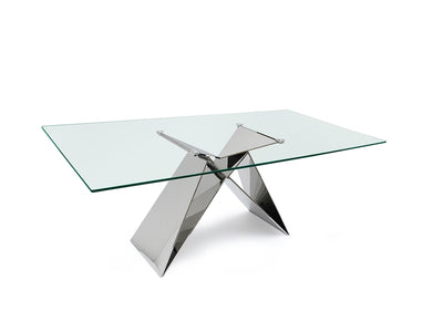 "86"" Gorgeous Glass Top & Steel Executive Office Desk or Conference Table"
