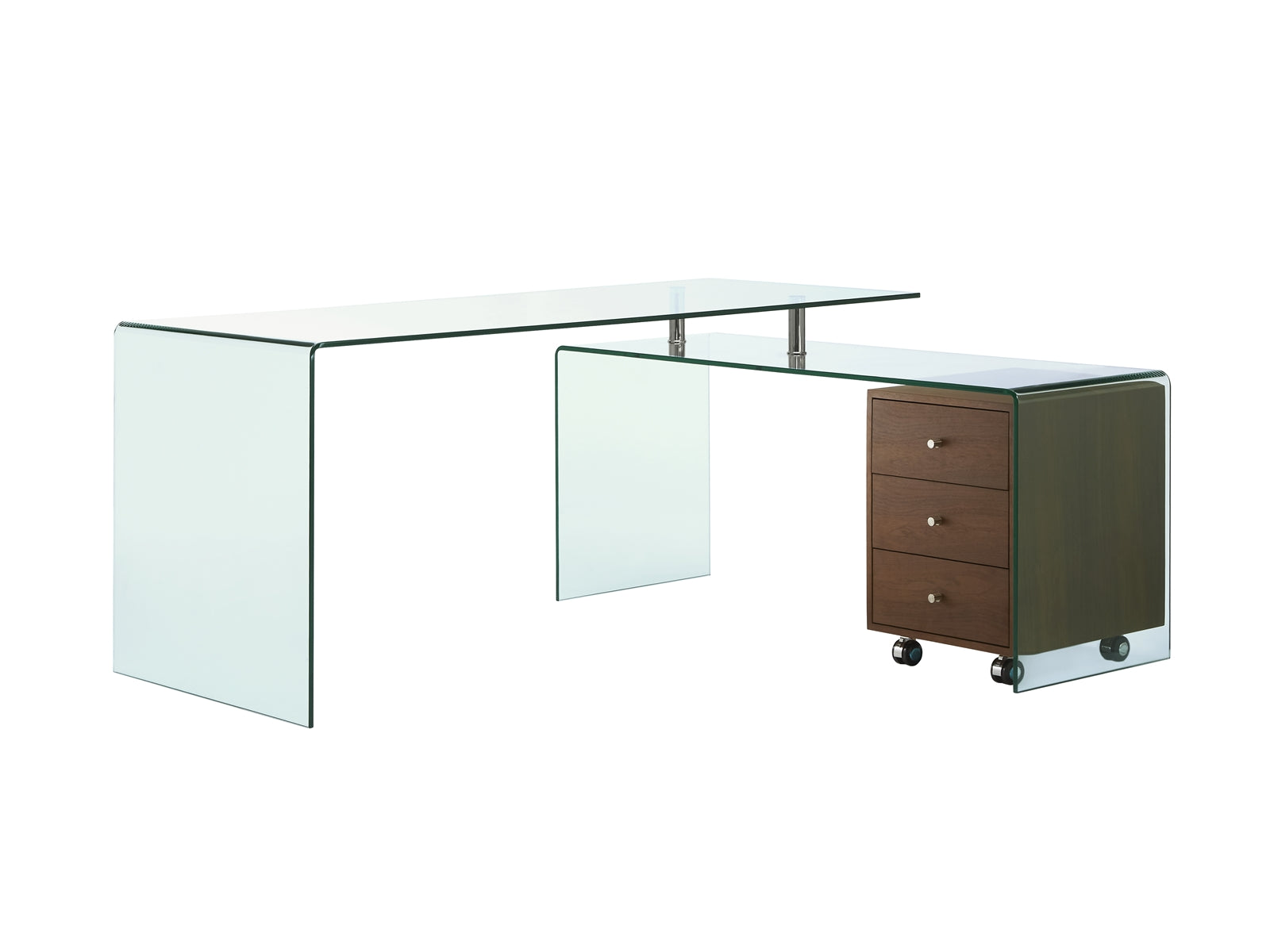 Ultra Chic Glass L Shaped Desk With Included Walnut Cabinet