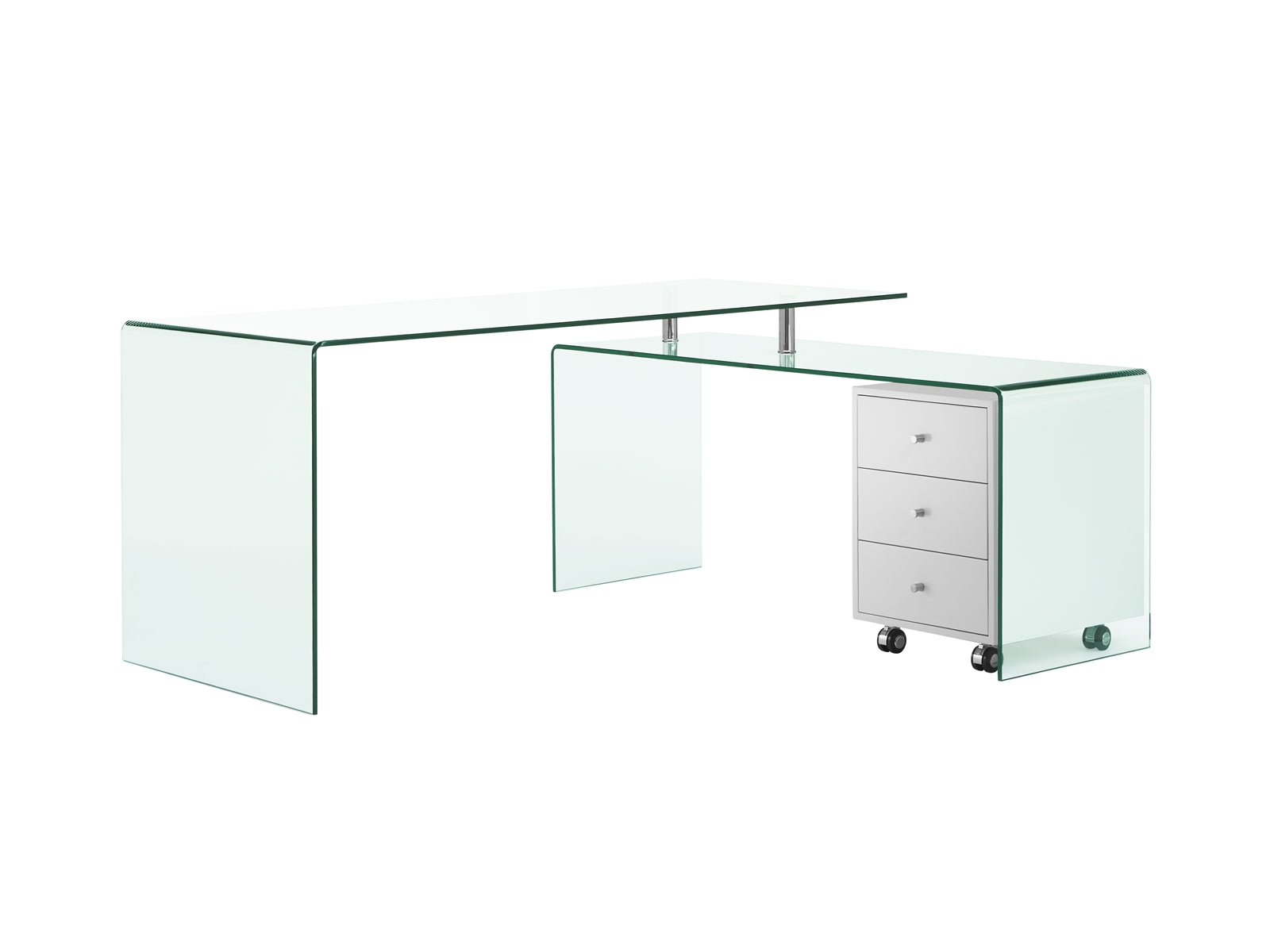 Ultra Chic Glass L Shaped Desk With Included White Cabinet