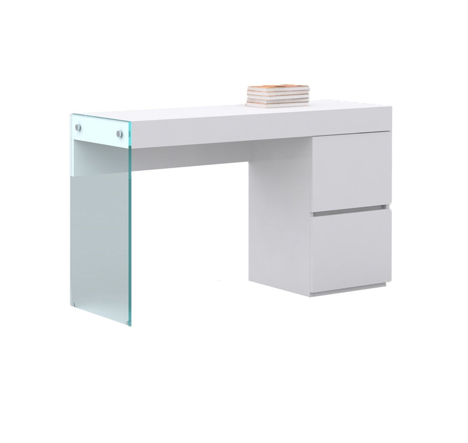Gentil Modern High Gloss White Lacquer Office Desk With Glass Leg