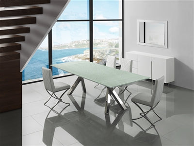 "79"" - 110"" Mirrored Crackled Glass Extension Conference Table"