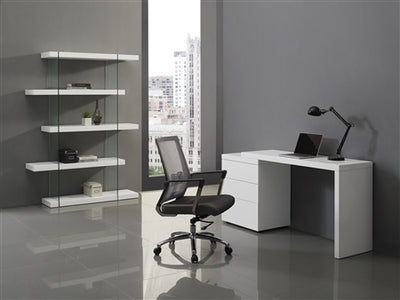 High Gloss White Extendable Office Desk by Casabianca