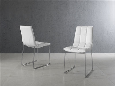 Checked Leatherette White Guest or Conference Chair (Set of 2)