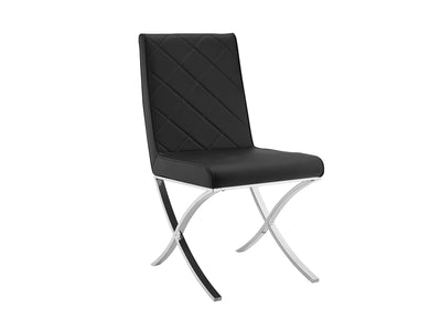 Criss-Cross Black Eco-Leather Guest or Conference Chair (Set of 2)