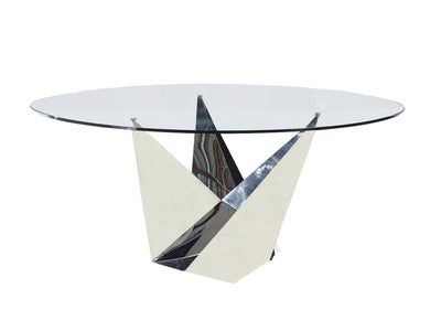 Modern Glass & Polished Stainless Steel Circular Meeting Table