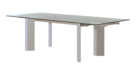 "71"" - 103"" Modern Glass Conference Table or Desk with White Lacquer Legs"