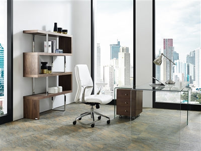 Sleek White Eco-Leather White Arm Office Chair