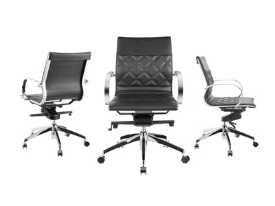 Classic Black Eco-Leather Office Chair w/ Crisscross Design