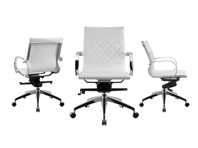 Classic White Eco-Leather Office Chair w/ Crisscross Design