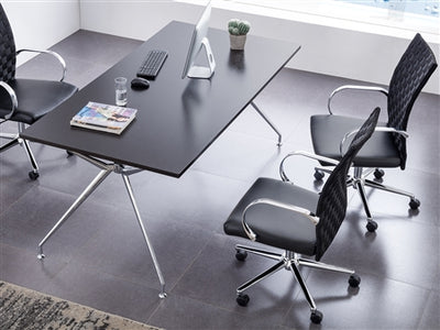 Soft Woven Eco-Leather Black Rolling Office Chair