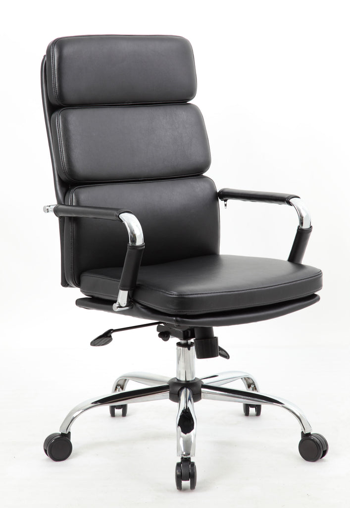 Modern black leather premium high back office chair for Modern leather office chairs
