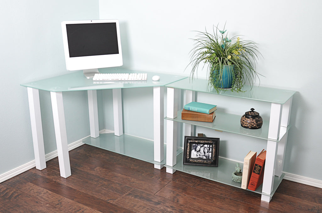 sleek office desk. sleek modern white glass corner desk with shelved extension office r