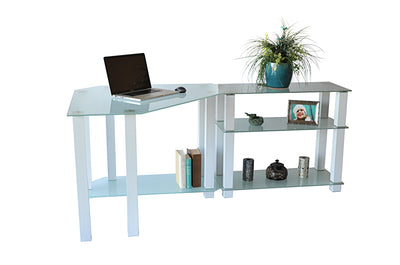 Sleek Modern White Glass Corner Desk with Shelved Extension