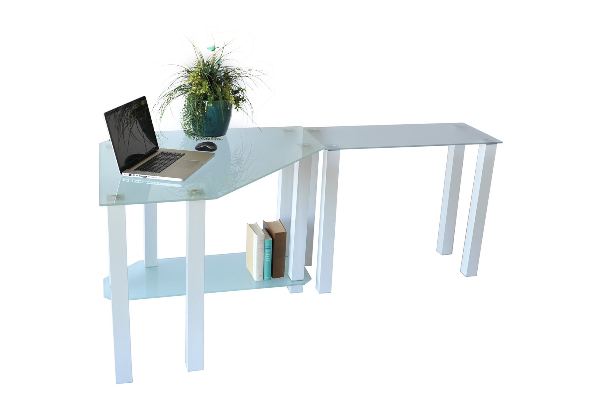 Modern L Shaped White Glass Desk With Cpu Shelf Extension