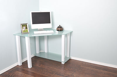 Modern Corner White Glass Workstation
